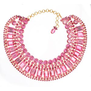 Alan Anderson Pink Crystal Cleopatra Necklace in 14K Gold Plate