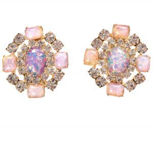Alan Anderson Opal and Crystal Button Earrings in 14K Gold Plate