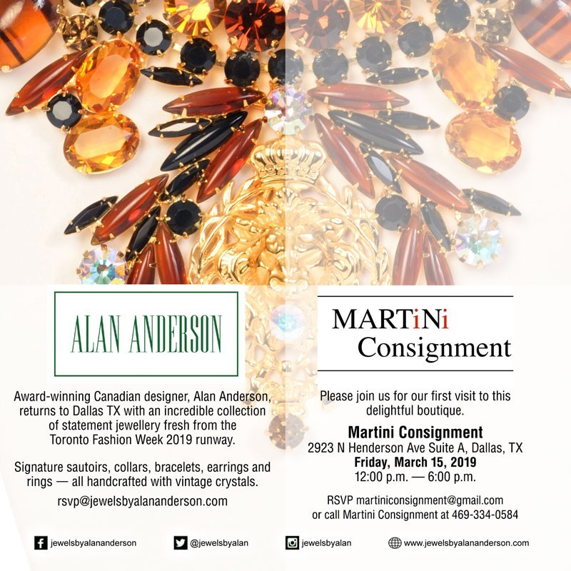 Please join us for our first visit to this delightful boutique. Martini Consignment, 2923 N Henderson Ave Suite A, Dallas, TXFriday, March 15, 2019 12:00 p.m. — 6:00 p.m. RSVP martiniconsignment@gmail.com or call Martini Consignment at 469-334-0584