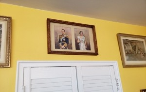 George VI and Elizabeth the Queen's parents, framed above our dining room wall.