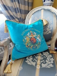 Throw cushions in our living room that we bought at Windsor Castle celebrating the Queen's reign.