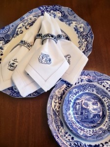 Blue and white embroidered napkins bought in Knutsford, UK.