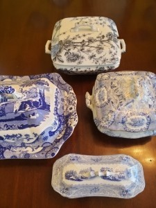 Vintage and contemporary bluue-and-white tureens.