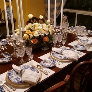 "Royal Crown Derby ""Blue Mikado"" dinner service in use."