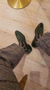 Green custom loafers