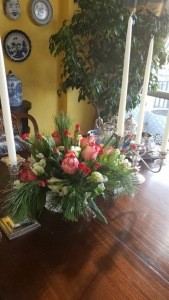 Holiday table flowers 2017